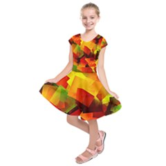 Indian Summer Cubes Kids  Short Sleeve Dress