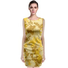 Gold Tone Splatter Classic Sleeveless Midi Dress