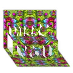 Freedom In Colors And Floral Miss You 3d Greeting Card (7x5)