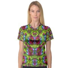Freedom In Colors And Floral Women s V Neck Sport Mesh Tee