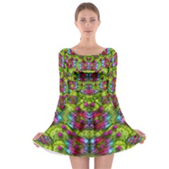 Freedom In Colors And Floral Long Sleeve Skater Dress