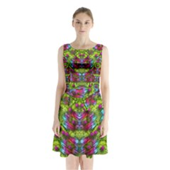 Freedom In Colors And Floral Sleeveless Chiffon Waist Tie Dress