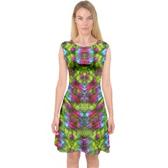 Freedom In Colors And Floral Capsleeve Midi Dress