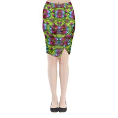 Freedom In Colors And Floral Midi Wrap Pencil Skirt