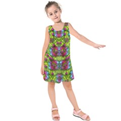 Freedom In Colors And Floral Kids  Sleeveless Dress