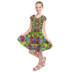 Freedom In Colors And Floral Kids  Short Sleeve Dress