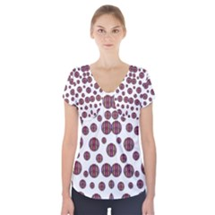Shimmering Polka Dots Short Sleeve Front Detail Top