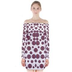 Shimmering Polka Dots Long Sleeve Off Shoulder Dress