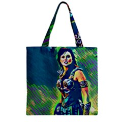 Warrior Princess 1 Zipper Grocery Tote Bag