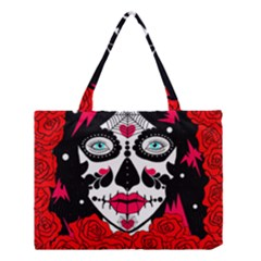 sugar skull red roses Medium Tote Bag