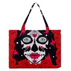 Sugar Skull Red Roses Medium Zipper Tote Bag