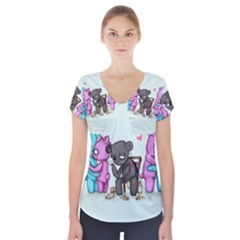 Single Bear Short Sleeve Front Detail Top