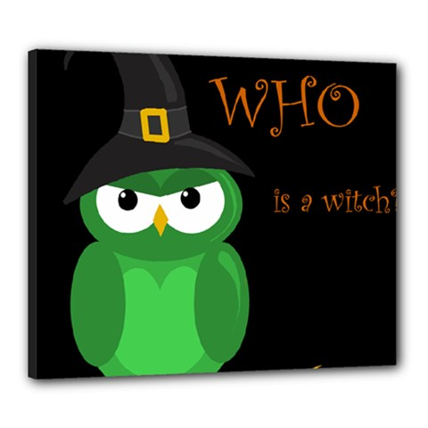 Who is a witch? - green Canvas 24  x 20