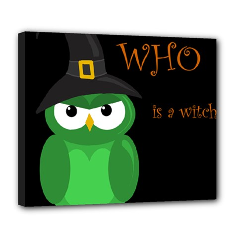 Who is a witch? - green Deluxe Canvas 24  x 20