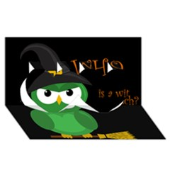 Who is a witch? - green Twin Hearts 3D Greeting Card (8x4)