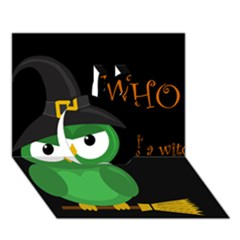 Who is a witch? - green Apple 3D Greeting Card (7x5)