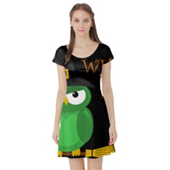 Who is a witch? - green Short Sleeve Skater Dress