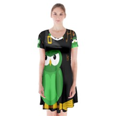 Who is a witch? - green Short Sleeve V-neck Flare Dress