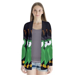 Who is a witch? - green Drape Collar Cardigan