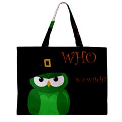 Who Is A Witch?   Green Medium Zipper Tote Bag