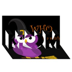 Who is a witch? - purple MOM 3D Greeting Card (8x4)