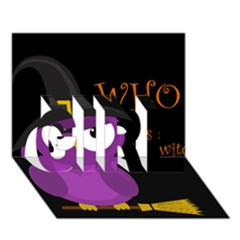 Who is a witch? - purple GIRL 3D Greeting Card (7x5)