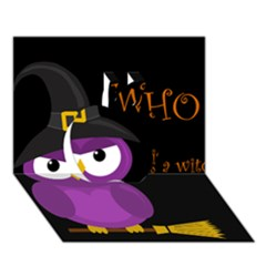 Who is a witch? - purple Apple 3D Greeting Card (7x5)