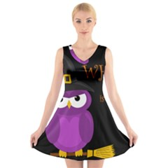 Who is a witch? - purple V-Neck Sleeveless Skater Dress