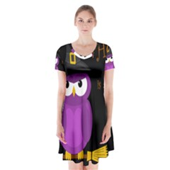 Who Is A Witch?   Purple Short Sleeve V Neck Flare Dress