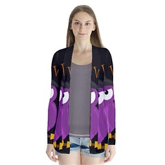 Who is a witch? - purple Drape Collar Cardigan