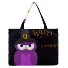 Who Is A Witch?   Purple Medium Zipper Tote Bag