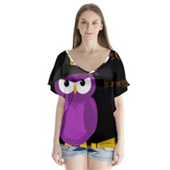 Who is a witch? - purple Flutter Sleeve Top