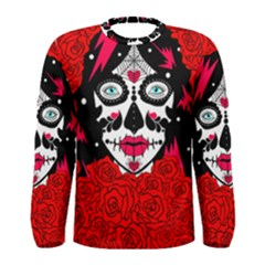 Sugar Skull Red Roses Men s Long Sleeve Tee