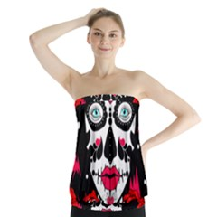 Sugar Skull Red Roses Strapless Top