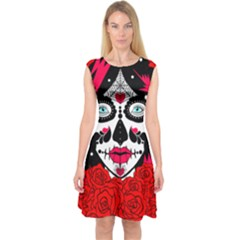 Sugar Skull Red Roses Capsleeve Midi Dress