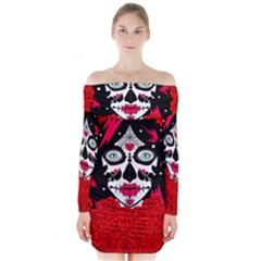 sugar skull red roses Long Sleeve Off Shoulder Dress