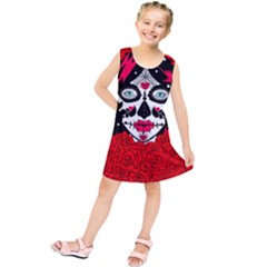 Sugar Skull Red Roses Kids  Tunic Dress