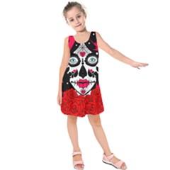 sugar skull red roses Kids  Sleeveless Dress