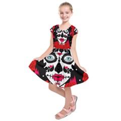 Sugar Skull Red Roses Kids  Short Sleeve Dress