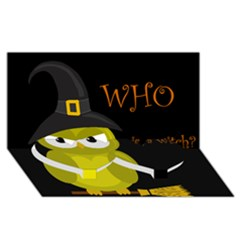 Who is a witch? - yellow Twin Heart Bottom 3D Greeting Card (8x4)