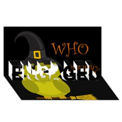 Who is a witch? - yellow ENGAGED 3D Greeting Card (8x4)