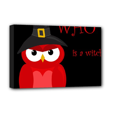 Who is a witch? - red Deluxe Canvas 18  x 12