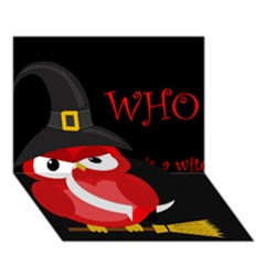 Who is a witch? - red Circle Bottom 3D Greeting Card (7x5)