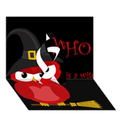 Who is a witch? - red Ribbon 3D Greeting Card (7x5)