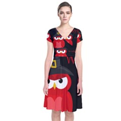 Who Is A Witch?   Red Short Sleeve Front Wrap Dress
