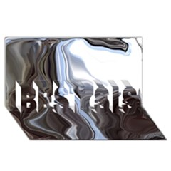 Metallic And Chrome Best Sis 3d Greeting Card (8x4)