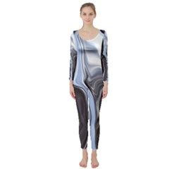 Metallic And Chrome Long Sleeve Catsuit
