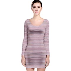 Wrinkled Pink Long Sleeve Bodycon Dress