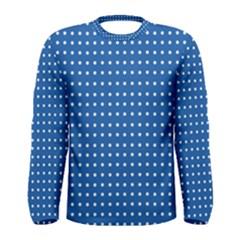 White Polka Dots On Blue Men s Long Sleeve Tee