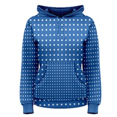 White Polka Dots On Blue Women s Pullover Hoodie